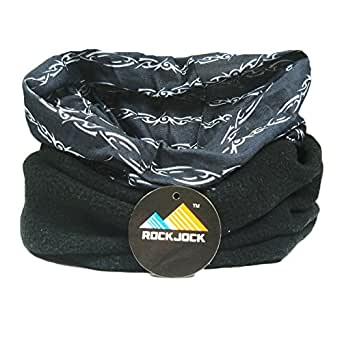 Multifunctional snood for men. Scarf, hat, neck warmer, hood, balaclava with fleece section (Barbed chain black & white)