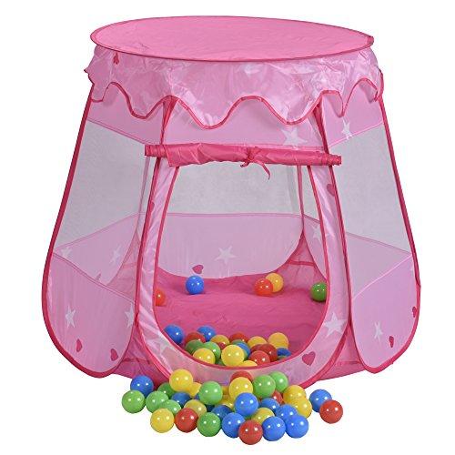 Jalano Spielzelt Pop up Bällebad Spielhaus Prinzessin Pink 100 Bälle und Tasche