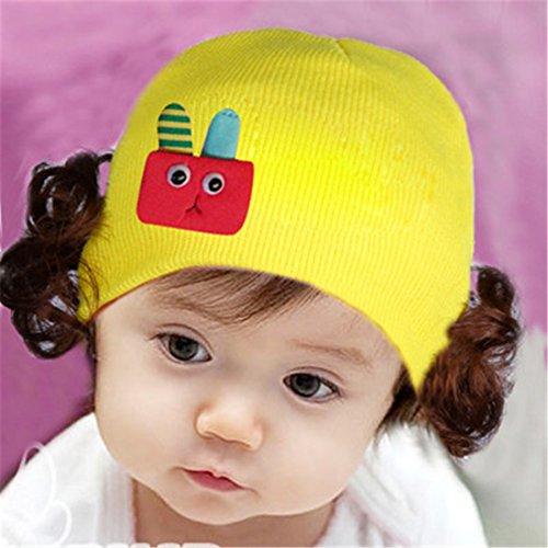 Cap Kinder Cap warme Strickmütze Haarband mit Kopfbedeckungen Perücke Hat Prinzessin Mädchen D Stil