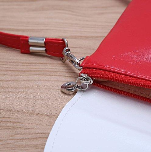 Dairyshop Sacchetti del messaggero del sacchetto di spalla della borsa del fumetto della ragazza delle donne sveglie della cartella (Azzurro) Rosso