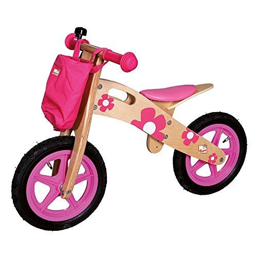 Bino & Mertens 82707 - Laufrad bunt mit Blumen, rosa, sehr stabil und bequem. Sitzhöhe verstellbar. Größe ca. 82x40x57 cm.