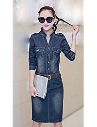 ZLL Moulante Toile de jean Robe Femme Décontracté / QuotidienCouleur Pleine Col en V Mi-long Manches Longues Coton Printemps Eté Taille Haute , s