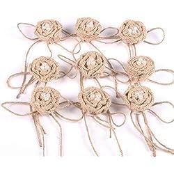 OULII Flor de arpillera arpillera perla rosa flor del Hessian yute flor rústica Vintage para Navidad adornos boda favores de la boda, paquete de 9