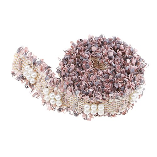 MagiDeal Retro Perlen Spitzenborte Spitzenband Spitze Trim Bänder Basteln DIY Zum Nähen, Farbwahl - Rosa Grau -