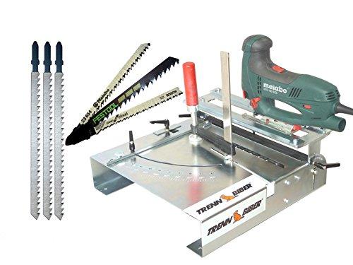 Stichsägetisch Trenn-Biber 012L+ Bosch Metabo Festool u. 3 lange Holz T-Schaft Stichsägeblätter für Stichsägen als Laminat Schneider, Sägestation