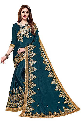 Vaansi Women Chinnon Designer embroidered saree with blouse
