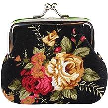 LHWY Mujeres 4- Color Retro Vintage Flor Monedero Pequeño Cerrojo Bolsa Bolso de Embrague
