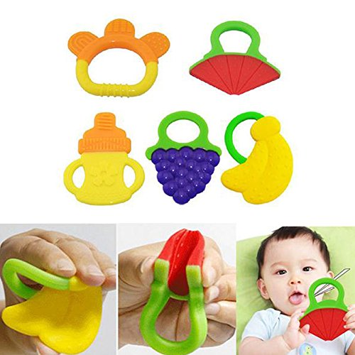 Baby Teethers, YIGO 5pcs Baby Fruit Toddler Teething Toys Gums, Silicone FDA Approved BPA Free Baby Teether Toys 51cjKk9gAKL