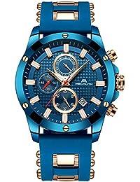 7a0a0bd19f0c Relojes azules para hombre Reloj de hombres militar cronógrafo luminosa  impermeable deportivo Reloj de cuarzo analógico de goma de…