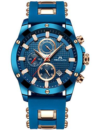 Herren Blau Uhren Herren Militär Chronograph Leuchtend Wasserdichte Sportuhr Herren Große Gesichts Tag Gummi Analog Quarz Uhr Mode Luxus Geschäft Kleid Designer Armbanduhren für Männer