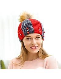 Moda Mujer boina tejida beanie gorras de visera de banda roja tapa