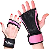 Trainingshandschuhe für Crossfit und Kraftsport Workout - Handflächenschutz Grip Handschuhe für Fitness, Pull Up Bar, Fitnessstudio, Krafttraining, Gewichtheben Training - Damen & Herren (Rosa, S)