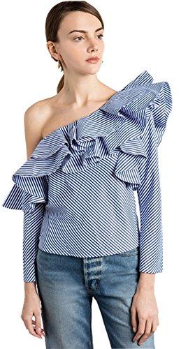 Moda Asimétrico One Off The Shoulder Hombros al Descubiertos Aire Escote Bardot Volante Bajo con Rayas Manga Larga Blusón Blusa Camisero Camiseta Camisa Top Azul S