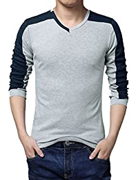 sourcingmap® hommes V Neck Longue Manche Color Block occasionnels T-Shirt