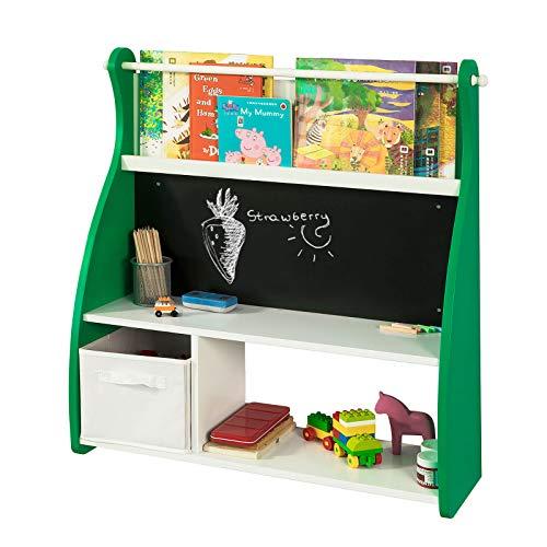 SoBuy KMB09-GR Design Kinder-Bücherregal mit Tafel Büchergestell mit 3 Ablagen und Spielzeugkiste Kinderregal Aufbewahrungsregal Weiß/Grün BHT ca.: 86x90x25cm (Mädchen Zeitschriften Zu Schreiben)
