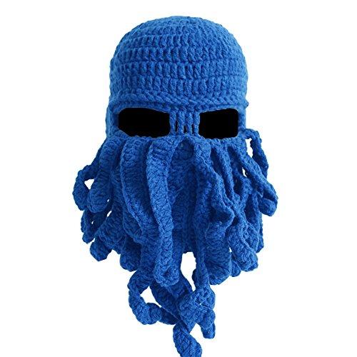MOONPOP Handarbeit Lustige Oktopus Strickmütze Bartmütze Stickmütze Häkeln Wollmütze Halloween Maske Gesichtsmaske (Blau)