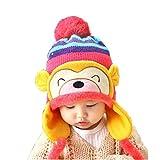 Bonnet Bebe, Koly Nouveau Mode Hiver Chaud Kid Baby Girl Boy Oreille éPais Knit Beanie Chapeau (Rose Vif)