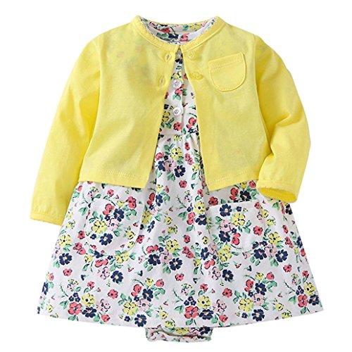 Mädchen Kleid + Mantel Kleidung Set,OverDose Neugeborenen Baby Mädchen Floral Blumen Bluse Kleid + Feste Mantel Outfits Kleidung Set(12 Monate,Gelb) (Baby-kleid-mantel)