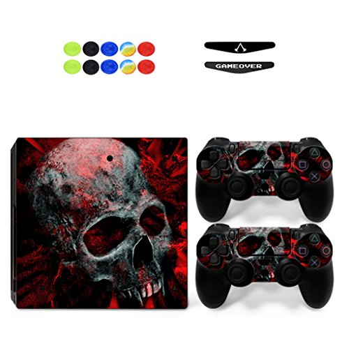 Skin for Ps4 Pro, Chickwin Consola Design Foils Vinyl Pegatina Sticker Decal And 2 Playstation 4 Pro Dualshock Controlador Skins Set+ 10pc Thumb Grips + 2pc Light Bar (Cráneo Rojo)