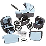 Milk Rock Baby Macano 3 in 1 Cochecito Combinado con 3 colores diferentes para el marco (asiento del coche, cubierta para la lluvia, mosquitero, ruedas giratorias de 20 colores) Mo68 blanco/ azul cielo gris