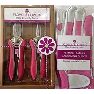 Ladies Leather Gardening Glove and Mini Pruner Garden Secateurs Set. Bypass and Trimmer Ladies Secateurs. The Best Womens Gardening Gift. On Sale Buy Now! (Glove Large)