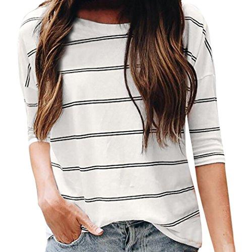 ZIYOU T-Shirts Damen Sommer, Kurzarm Shirts Frauen Causal Gestreiftes Ärmellos T-Shirt mit Rundhalsausschnitt Bluse Tops (Weiß, M) (T-shirt Shorts Ärmelloses)