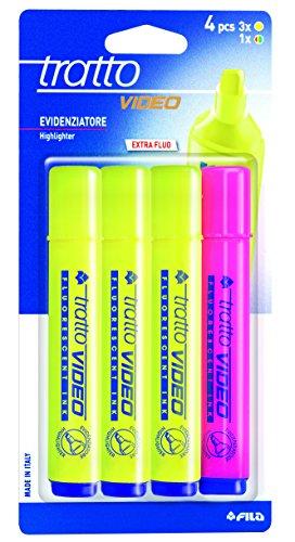 Tratto 043508-Blister di 4 marcatori fluorescenti, 4 Pezzi
