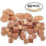 SpiffyJack zedernholz motten 60 Stück Mottenschutz für Kleiderschrank bestehend aus 24x Mottenkugeln, 12x Mottenringe und 24x quadratischem Zedernholz Motten Schutz