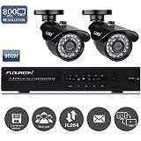 Floureon Kit de Surveillance 4CH DVR 960H avec Lot de 2 Caméras 800 Lignes Extérieur/Intérieur Vision Nocturne - Détection de Mouvement Notification par Email P2P Cloud HDMI Accèss à Distance