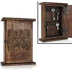 Store Indya, Armadio a muro in legno Fatto a mano Porta a chiave con armadio a chiave con 6 ganci a scatola rettangolare decorazione a casa