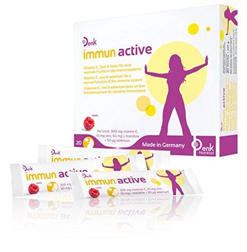 Denk immun active - Unterstützt das Immunsystem mit Vitamin-C, Zink & Selen für die Stärkung bei Grippe, Husten & Schnupfen - 20 Direktsticks