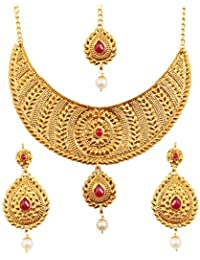 Touchstone Indian Bollywood Ethnic And Innovative Heavy Designer Jewelry Necklace Set Embellished With Faux Ruby...