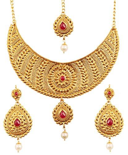 Touchstone set di gioielli etnici bollywoodiani indiani e innovativi di design pesante impreziositi da rubini finti per donna rosso