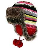 Fiebig Gorra De Aviador Mujer Gorro Gorros Piloto Sombrero Piel Punto Invierno A Rayas Forro Polar Para Mujeres (FI-71298-W16-DA0-7-57) incl. EveryHead-Hutfibel