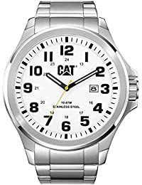 CAT Operator Men's Quartz Watch with Silver Dial Analogue Display and Silver Stainless Steel Bracelet PU.141.11.211