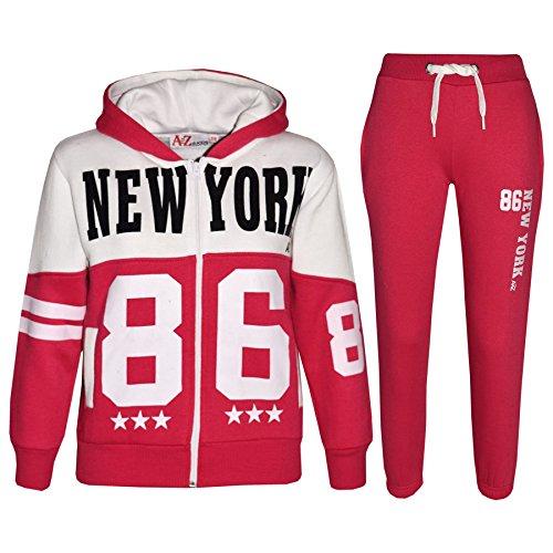 A2Z 4 Kids Bambini Tuta Ragazzi Ragazze Progettista New York 86 Stampare Felpa Con Cappuccio & Bottom Jogging Tuta Età 5 6 7 8 9 10 11 12 13 Anni
