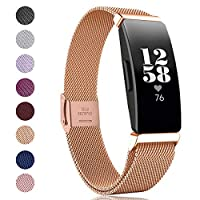 "Kartice Compatible with Fitbit Inspire HR Bands/Inspire Band,Stainless Steel Men Women Replacement Strap for Fitbit Inspire & Inspire HR Tracker. Large:5.7"" - 8.7"" Gold FFIINPMLLRGll-FBA"