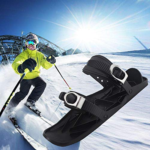 Aegilmcshoes Unisex Skischuhe, Mini Ski Skates for Snow, Tragbar Erwachsene Ski Bindung Short Skiboard Snowblades Adjustable One Size Fits All