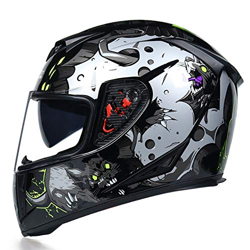 Story of life Motocross Helm Motorrad Männer Und Frauen Mountainbike Vollvisierhelm Doppel-Objektiv Anti-Fog DH Downhill Helm,Clear,XL
