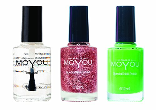 MoYou Nails Bundle of 3 Stamping Nail Polish: Top coat, Glitter Top Coat, Atlantic Green Colours Used to Create Beautiful Nail Art Designs Sourced Directly from the Manufacturer by MoYou Nails