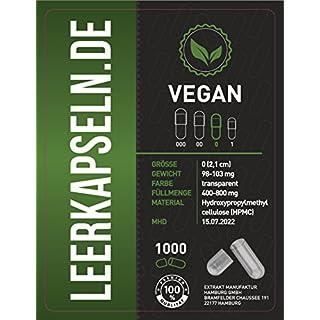 1000 Leerkapseln | Größe 0 | vegan HPMC | getrennte Kapselhälften | MHD März 2022 | transparente Kapseln | kein vorheriges öffnen nötig | vegetarisch (1000)
