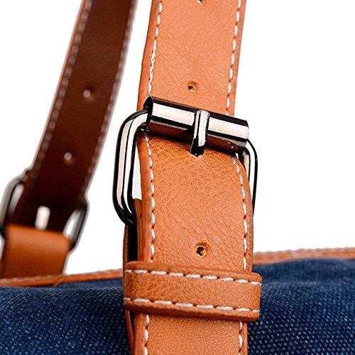 Happytimebelt 45cm Trim Weekender borsa da viaggio, borsone in tela, Brown, L Sky Blue