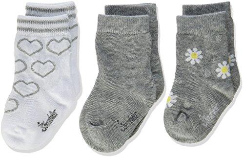 Sterntaler Baby-Söckchen 3er-Pack Herz/Blumen, Alter: 0-4 Monate, Größe: 14, Weiß