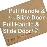 Pull Griff und Slide Tür zu open-internal window-set von 2-white auf clear-stickers-left und rechts arrows-hackney Mini Cab, Taxi Minicab Safety Signs