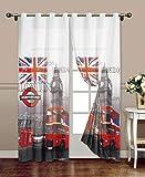 takestop® TENDA london FANTASIA LONDRA BRITISH UK STAMPE 140X280CM A PANNELLO CON ANELLI PER ARREDO INTERNI PORTA FINESTRA PER BASTONE