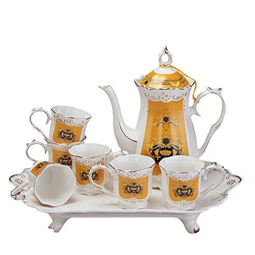 Bone China Altes Krone Porzellan Kaffeeservice Teeservice Kaffeegeschirr Teekanne Tee Set 8-Teilig,...