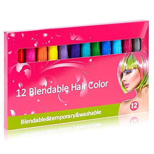FOONEE Haarkreide, 12 Temporäre Haarfarbe Nicht Giftig Waschbar Haarfärbemittel Stifte für Erwachsene Jungen Mädchen Große Geburtstag Halloween Neujahr Geschenk