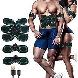 COOAU USB Recargable EMS Muscular y masajeador, Entrenador Portátil Masajeador Abdominal Eléctrico Cinturón Ejercitador del Cuerpo de Abdomen/Brazo/Pierna