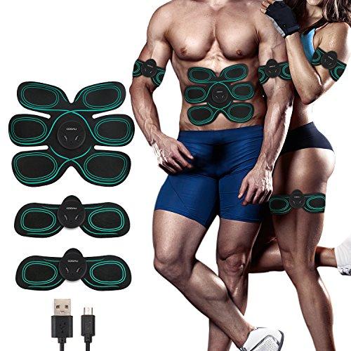 COOAU EMS Abdominal Entrenamiento, Electroestimulador Muscular Cinturón, Entrenador Portátil Masajeador Eléctrico Cinturón Ejercitador del Cuerpo de Abdomen/Brazo/Pierna para Hombre o Mujer