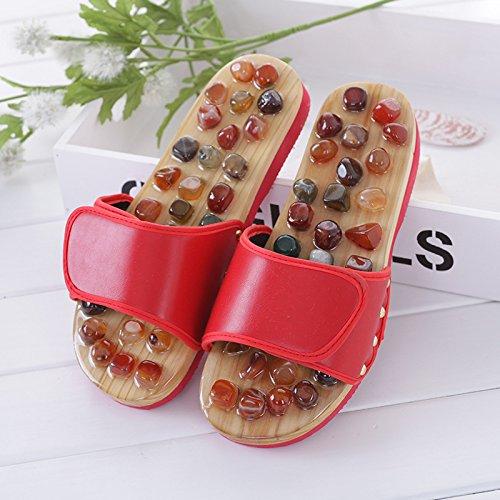 Entspannen Sie sich komfortabel Achat Stein Fußmassage Hausschuhe Reflexzonenmassage Gesundheit Gesundheit Schuhe Slipper gesunde Massagegerät, Rot, 41 42